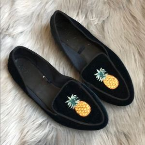 Zara Women dark jewel tone Velour pineapple flats